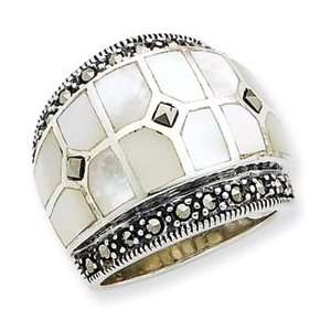 Sterling Silver Marcasite & Mother of Pearl Ring Jewelry