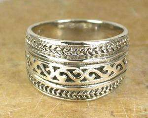AMAZING WIDE STERLING SILVER FILIGREE DOME RING sz 8
