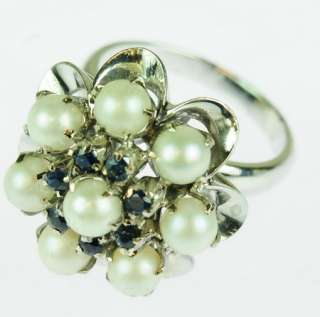 ANTIQUE LADIES 18K WHITE GOLD SAPPHIRE PEARL RING 113213