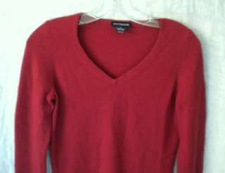 ANN TAYLOR Womens Brick Red 100% Cashmere V Neck Sweater S Small