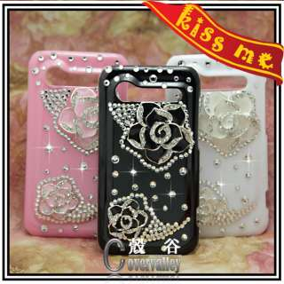 3X bling camellia flower crystal rhinestone case cover HTC Incredible