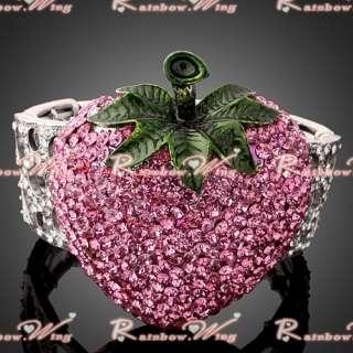 Best Gift 18K Swarovski Crystal Strawberry Bracelet Bangle Cuff 003