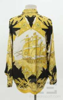 Versace Classic Mens Black & Gold Silk Nautical Print Button Up Shirt