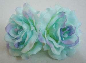 Blue Silk Rose flower Barrette Hair Clip