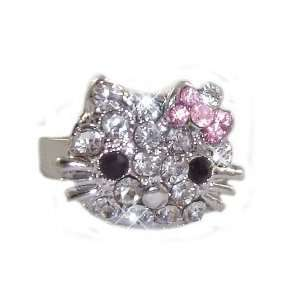 Hello Kitty Ring with Pink Crystal Bow   Adjustable Band