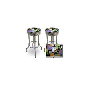 2 Elvis Presley Black Fabric Specialty / Custom Barstools