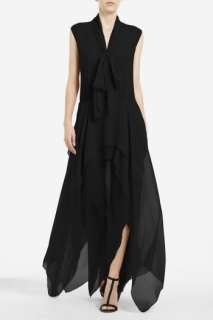 BCBG MAX AZRIA BASHA TIE NECK Black Silk Chiffon Layered Draped