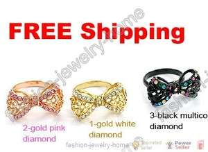 Lovely Crystal Bowknot Ring For Fashion Girl Lady
