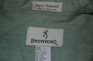 BROWNING Super Naturals Mens 100% Cotton Long Sleeve Shirt L