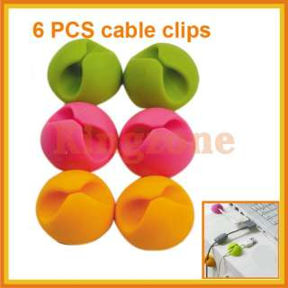 New 6 PCS Multipurpose Wire Cord cable clips Tie holder Drop Organizer