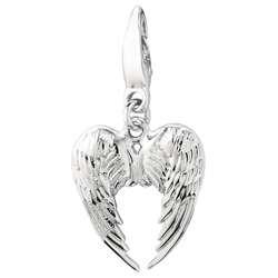 Sterling Silver Heart Wings Charm