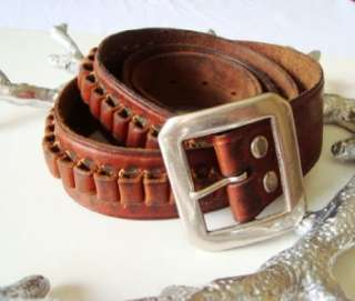 GEORGE LAWRENCE CO. BROWN LEATHER 22 CAL AMMO HUNTING BELT