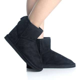 Flat Ankle Boots Winter Black Slip On Faux Suede Fur Womens Booties