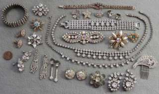 Vintage 25 Piece RHINESTONE JEWELRY LOT Bracelets NECKLACES Brooches