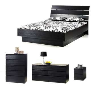 Piece Full Bed, Night Stand, Dresser and Chest Set, Black Woodgrain