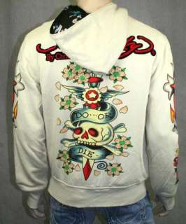 ED Hardy Mens Reversible Hoodie DO OR DIE Beige Black