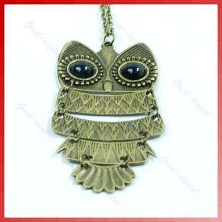 Copper Vintage Gold Big Eyes Owl Pendant Necklace Chain