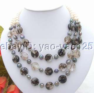 Charming 3Strds White&Black Pearl&Crystal Necklace