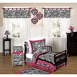 Black and White Funky Zebra Print 5 piece Toddler Girls Bedding Set