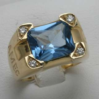 Estate 14k gold Blue Topaz Diamond Mens Ring 5 carat AME diamond Cross