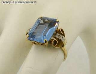 Beautiful Antique 9C Blue Topaz 2 Diamonds 18k Gold Ring