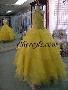 TIFFANY PRINCESS GLITZ 33402 yellow size 6 GIRLS NATIONAL PAGEANT