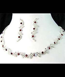 Bridesmaids Diamante Red Crystal Necklace Earrings Set Prom