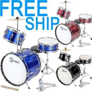 New Complete Junior Childrens Drum Set Cymbals Stands Stool Sticks