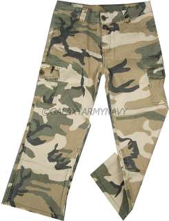 Military Vintage Subdued Woodland Camouflage Capri Camo Pants