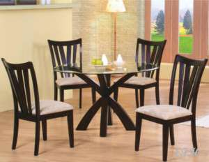 5PC BAKER II GLASS TOP CAPPUCCINO WOOD DINING TABLE SET