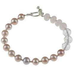 Charming Life Pink Pearl, Rose Quartz and Crystal Bracelet