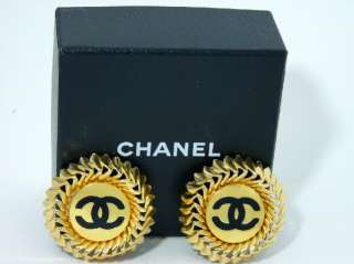 Vintage Chanel Jumbo CC Logo GOLD tone & black 1980s Earrings