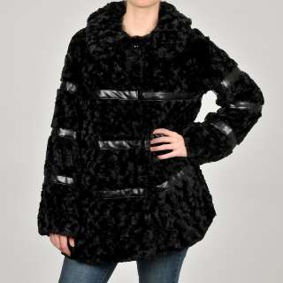 Betsey Johnson Womens Junior Black Faux Fur Coat