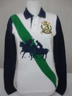 Ralph Lauren Polo Shirt Dual Match Big Pony Mesh NWT New White Navy