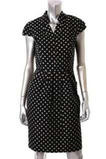 Jones New York Dress Petite Career Black Polka Dot Pleated Front 6P
