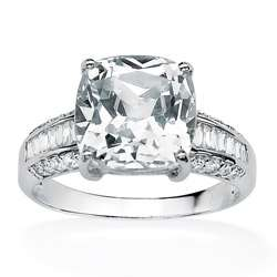 Ultimate CZ 10k White Gold Cushion cut Clear Cubic Zirconia Ring