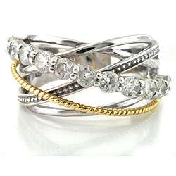 Silver/ 14k Gold Clear Cubic Zirconia Crossover Ring