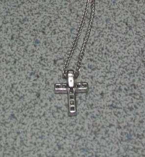 Princess Cut Diamond Cross 14kt White Gold Necklace