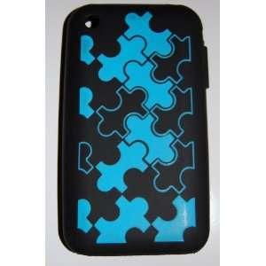 KingCase iPhone 3G & 3GS   Silicone Puzzle Pieces Case   Blue