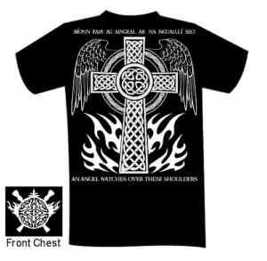Celtic Cross Shirt in Gaelic An Angel Watches Over