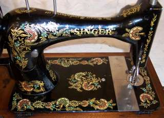 Singer VS3 model 28 Hand Crank Sewing Machine Ottoman Carnation