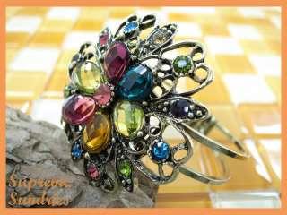 Multi Color Swarovski Crystal Flower Metal Bangle Bracelet #10