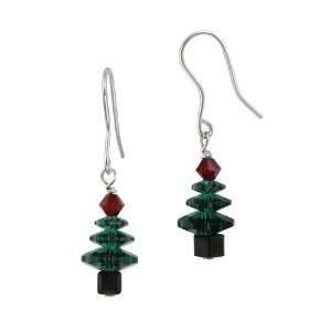 Swarovski Crystallized Elements Christmas Tree French Wire Earrings