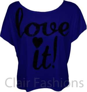 Ladies Glitter Print T shirt Crop Off Shoulder Top Womens Sleeveless