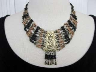 VINTAGE ART DECO EGYPTIAN REVIVAL Goldtone Pharaoh FAIENCE BEADS BIB