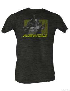 AIRWOLF GRAY HEATHER HELICOPTER ADULT TEE SHIRT S 2XL