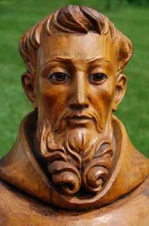 Hand Carved Wood Statue of St. Francis of Assisi +