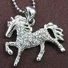 Horse Mustang Rhinestone Necklace Chain Pendant Charm