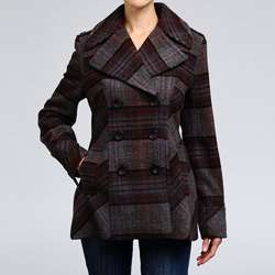 Nicole Miller Womens Plaid Wool blend Pea Coat  Overstock