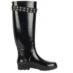 Juicy Couture Spirit Black Shiny Rubber Rain Boots  Overstock